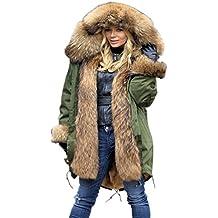 Aofur Chaqueta de mujeres Ropa Abrigo largo caliente Cuello de piel con capucha Chaqueta Parka de