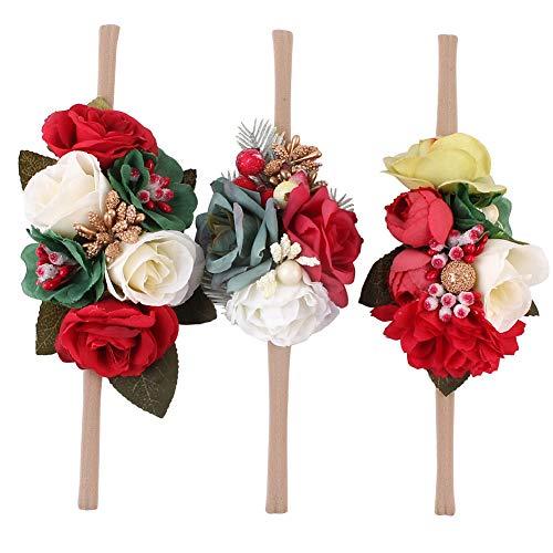 Homeofying, set di 3 fasce elastiche per capelli, colori vivaci, tinta unita, per l'estate, per bambine, matrimoni, banchetti, feste, servizi fotografici
