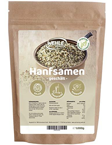 Hanfsamen geschält 1kg natürliche Protein Eiweißquelle, essentielle ungesättigte Omega-3 Hempseeds - Wehle Sports Vegan, Glutenfrei, Rohkost 1000g Hanf-samen Herkunft Österreich