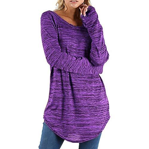 BHYDRY Frauen Plus Größe Einfarbig RounLange Bluse Pullover Tops Shirt(EU-44/CN-M,Lila)