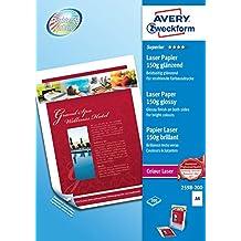 Avery 2598-200 Carta Fotografica Extra Glossy, 150G, Stampanti Laser, 200 Fogli, 210 x 297, Bianco