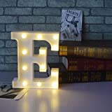 Battery Operated Letters Alphabet LED Light Sign, A-Z Plastic Marquee Table Lamps, Lighting up Words, for Birthday Wedding Party Bar Bedroom Wall Hanging Decor-E