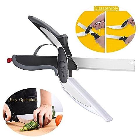 Ciseau Cuisine, 2 en 1 Couteau de Cuisine, Pictek Ciseaux Cuisine Multifonction en Acier Inoxydable Ciseaux de Coupe Ciseaux Chopper, Manche Anti-dérapant Couteau Cutter pour la Viande Légumes Fruits