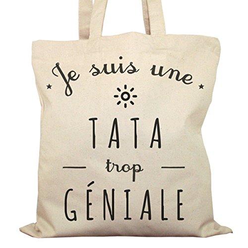 Tote Bag Imprimé Ecru - Toile en coton bio - Je suis une Tata trop géniale