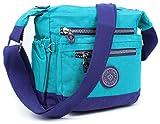 Aossta Womens Multi Zip Pockets Fabric Lightweight Cross Body Bag Shoulder Bag Messenger Bag (3206 Blue/Navy)