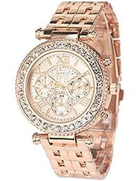Longra Las mujeres de oro de acero cuarzo reloj de diamantes rosa
