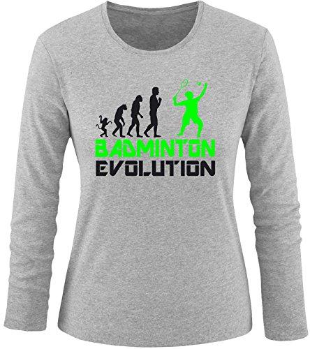 EZYshirt® Badminton Evolution Damen Longsleeve Grau/Schwarz/Neongr