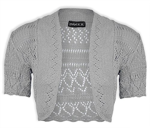 Ladies Bolero Shrug Knitted crochet Cardigan Womens Top Size 8-24 Silbergrau