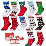 Vertvie 12 Paar Unisex Weihnachtssocken Christmas Socks Weihnachtsmotiv Weihnachten Festlicher Baumwolle Socken Mix Design für Damen und Herren (One Size, 12er Pack03)
