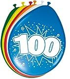 Folat 8Stk. Luftballons 30cm Zahlenballons 100 Jahre Zahl