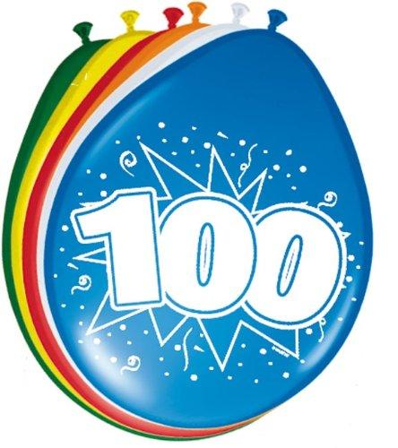 Folat 08300 100. Geburtstag Ballons 30 cm-8 Stück, Mehrfarbig