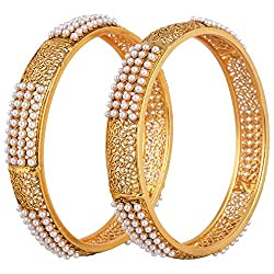 Youbella Gold-Plated Pearl Bangle Set(2.6) For Women/Girls