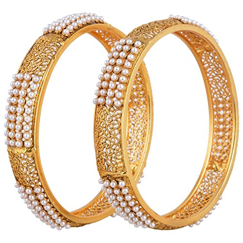YouBella Designer Gold Plated Jewellery Pearl Studded Bangles for Women and Girls (2.6)