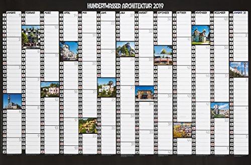 Hundertwasser Jahresplaner Architektur 2019: Wandplaner