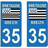 Paire Sticker immatriculation 35 - Ile et Vilaine