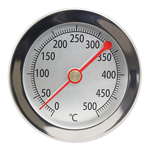 Lantelme Edelstahl 500 °C Grad Thermometer mit Clip, Bratofen, Backofen, Pizzaofen, Holzofen, Holzbackofen, Ofenthermometer Analog und Bimetall