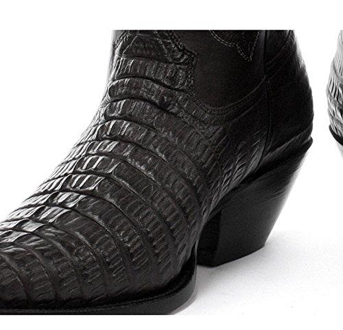 Schleifer Carolina Western Cowboy Stiefel mit Krokodil Muster auf Vamp und Blickfang NŠhte Schwarz