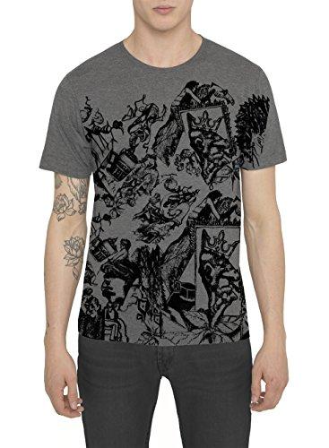 Maglietta Designer Moda da Uomo, T Shirt Fashion Vintage Rock, Maglia Grigia di Cotone con Stampa Metal Tattoo - KING VOYAGEUR Magliette Cool Urban Style, Girocollo Slim Fit Manica Corta S M L XL XXL