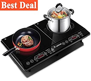 Aobosi Double Induction Hob, 2800w, Portable Digital Electric Cooker, Sensor Touch Control?Crystal Glass plate
