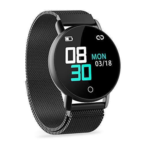 WENVVIS Fitness Armband, Fitness Tracker mit Pulsmesser und IP67 Wasserdicht Fitness Uhr, Blutdruck und Schlafmonitor Schrittzähler, Smart Watch with Vibration Wecker Aktivitätstracker (Black)