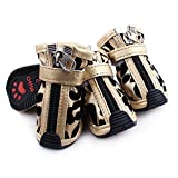 #8: Generic Set of 4pcs Golden Leopard Style PU Leather Shoes Boots for Pet Dogs Size 3#