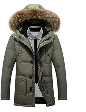 MHGAO Nueva grueso cuello de la piel de los hombres de la capilla de invierno por la chaqueta , army green , xxl