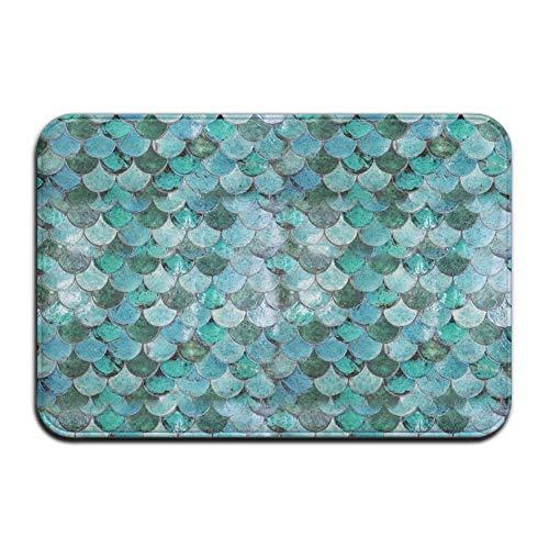 Wamnu Charming Pastel Mermaid Pattern Floor Doormats Non-Slip Living Room/Kitchen/Home Rugs Carpet, 23.6
