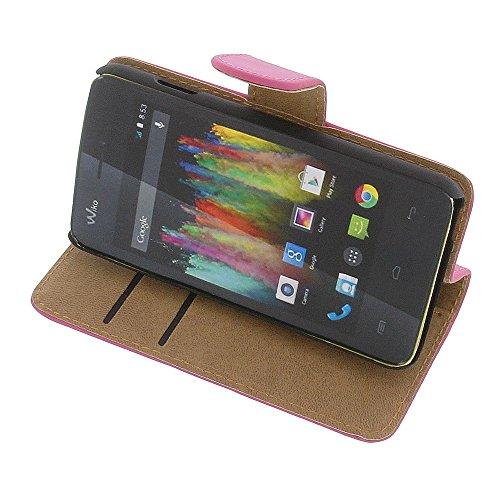 Tasche für Wiko Kite 4G Book Style pink Kreditkarte Schutz Hülle Buch
