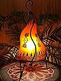Orientalische Tischlampe Zeliha 42cm Lederlampe Hennalampe Lampe | Marokkanische kleine Tischlampen aus Metall, Lampenschirm aus Leder | Orientalische Dekoration aus Marokko, Farbe Orange