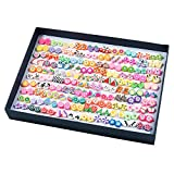 Orecchini Donna, Comius 100 Paia Orecchini da Ragazza, Fatti a Mano Ipoallergenico Ceramica Morbida Misto Colore Set per le Donne Ragazze (Ago di plastica)