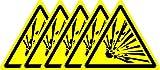 ISO Hinweisschild–Warnung Explosive Material Symbol–Sticker Selbstklebend 50mm x 50mm (5Stück Aufkleber)