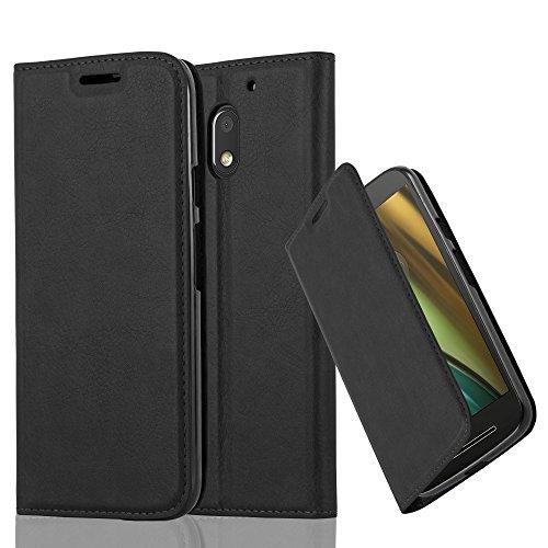 Cadorabo Hülle für Motorola Moto E3 - Hülle in Nacht SCHWARZ – Handyhülle mit Magnetverschluss, Standfunktion und Kartenfach - Case Cover Schutzhülle Etui Tasche Book Klapp Style