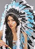 Deluxe Türkisblau Indianerfeder Kopfschmuck