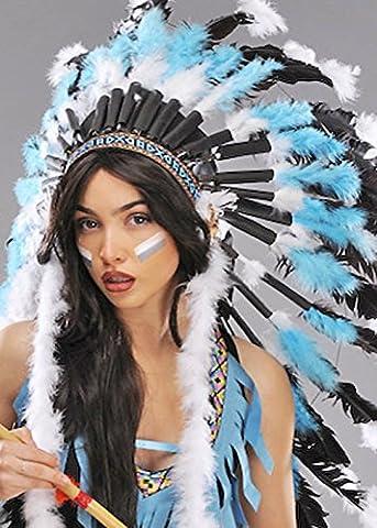 Turquoise de luxe bleu chef indien plume coiffe