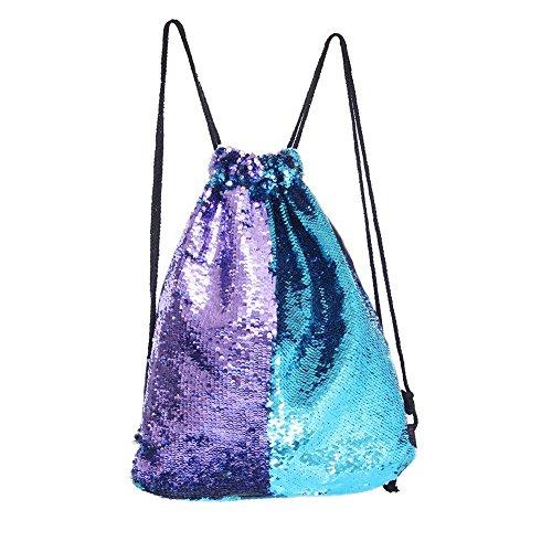 Eyourlife Mermaid Paillettes Zaino con lacci Glittering Outdoor tracolla, Winmany Magic Reversibile Glitter Coulisse Zaino, Moda Bling Shining Bag, Borsa zaino sportivo (Blue/Purple)