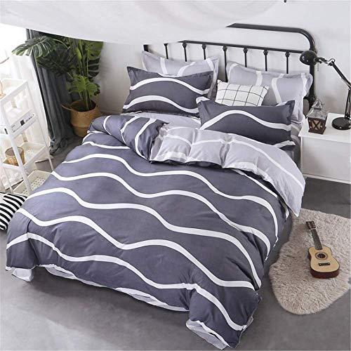 r Bettwäsche-Sets Bettwäsche Kissenbezug Gedruckt Polyester Bettbezug Set Full Queen King Size Blau 180x220cm ()