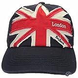 Herren Baseball-Kappe mit London Union Jack Stickerei (One Size) (Marineblau/Rot)