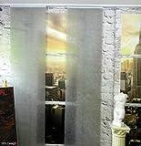IXX-Design Flächenvorhang in Glasfaseroptik , Farbe hellgrau , bis 300 cm hoch , 60 cm breit mit Klemmprofil Paneelwagen weiß aluminium