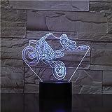Wallfia Motociclista spettacolo motociclistico alimentatore a batteria luce 3D per regalo di compleanno di luce notturna giovanile Lampada da tavolo a LED a luce notturna