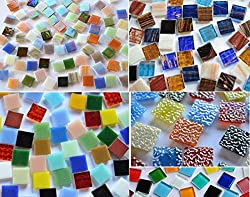 Bazare Masud e.K. Coloured Glass Mosaic Stones From 5 Different Types of Stone 15x 15mm Approx. 760g Pack of 500 As a