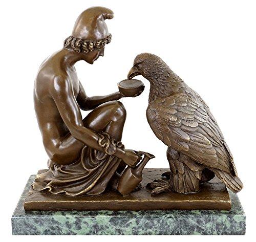 Kunst & Ambiente - Ganymed den Adler des Zeus tränkend - Bertel Thorvaldsen - Antike Bronzefigur - Griechische Statuen - Skulptur