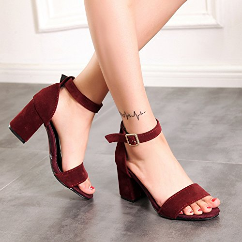 Damen Open Toe Sandalen Blockabsatz Knöchelriemchen Two-Piece Weinrot