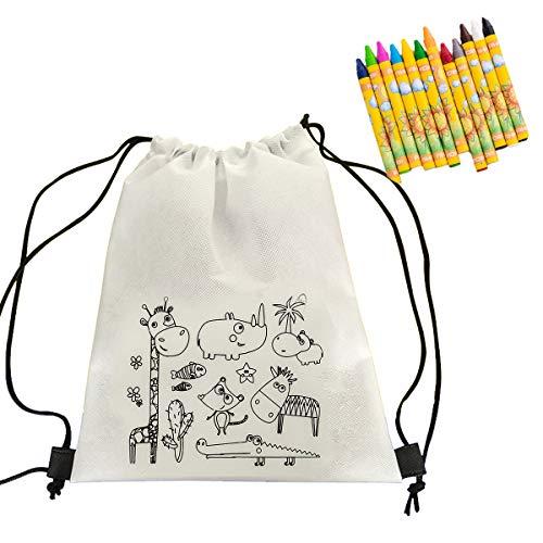 Cusfull 10 x Turnbeutel mit Kordel Rucksack Gym Tasche zum Selber Bemalen mit 10 Box Waschbare Buntstifte Wachsmalstifte für Kinder Geburtstag Party Geschenk