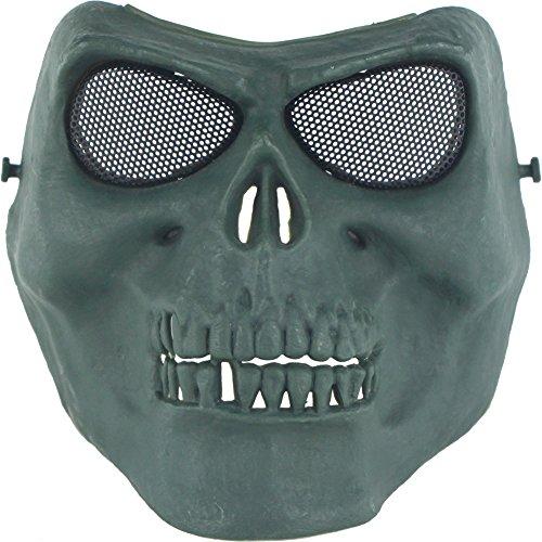 ctive Gear Metallgitter mit Augenschutz Vollgesichtsschutz Zombie Skull Skeleton Masken für Airsoft BB Paintball Jagd Cs Spiel Cosplay Halloween (OD) ()