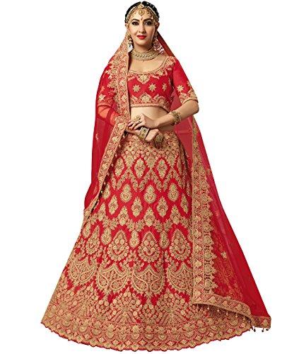 Indian Ethnicwear Bollywood Pakistani Wedding Red A-line Lehenga Semi-stitched-PRFM7406