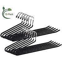 Ohuhu® Kleiderbügel Hosenbügel Klemmbügel Metall Gummiert Rutschfest 12 Stücke Schwarz, Durchmesser: 0.5cm, lang:13.5cm