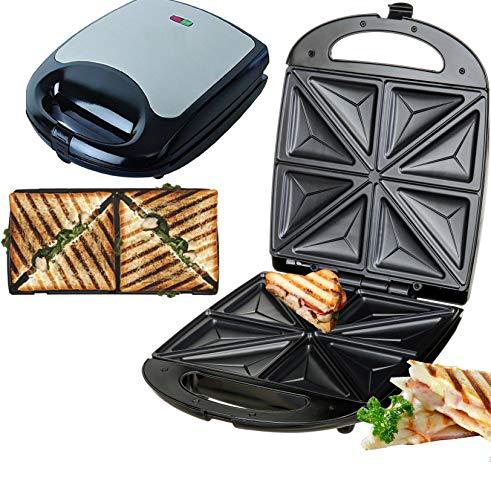4er Sandwichmaker | 1500 Watt | Sandwich Maker | Edelstahl Sandwichtoaster | Waffeleisen | Paninitoaster | Elektrogrill | 8 Sandwichecken | Antihaftbeschichtung | Thermostat (Sandwichmaker)