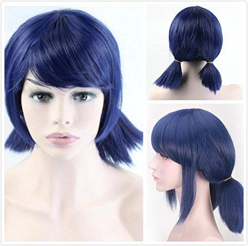 r Mädchen und Frauen, für Cosplay, mit doppelten Pferdeschwanz-Zöpfen, kurz gerade Perücke mit blauen Haaren (Blaue Perücken Für Kinder)