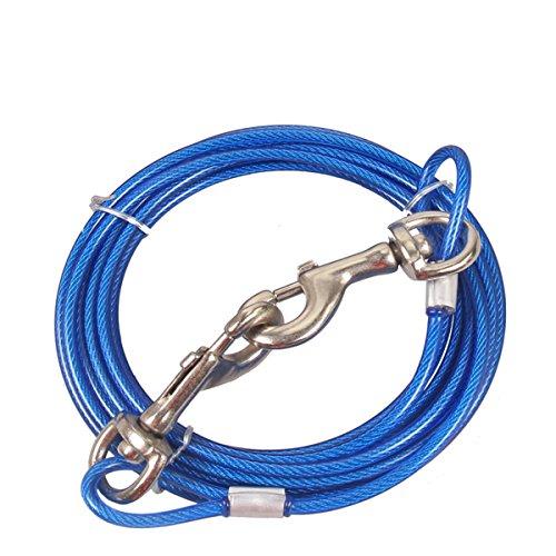 Hund Binden Kabel, Stahldraht Seil mit Dual Heads Metall Hooks Outdoor Yard und Camping für Mittlere Große Hunde, 32ft (10M, Blue) (Großen Hund Tie-out-kabel)