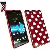 Emartbuy ® Sony Xperia Z Polka Dots Gel Skin Cover / Case Rot / Weiß
